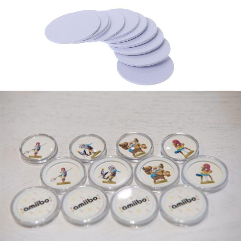 Para NTAG215 RFID caja redonda de plástico transparente para cápsulas para monedas 25mm acrílico Mater L41B
