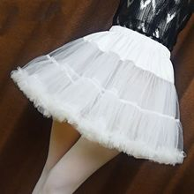 Enagua corta con volantes para mujer y niña, falda tutú de burbuja esponjosa de Color blanco sólido, Media deslizamiento, sin aro