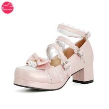 Women Kawaii Lolita Shoes Mid Block Heel Patchwork Mixed Colors Girls Mary Jane Rockabilly Pumps wit