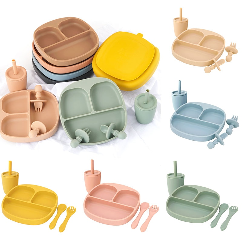 4pcs 2021Childrens Tableware Plate/Spoon/Fork/Cup Sucker Soft Silica Gel Food Safe Approve Silicone Training Kids Non-slip Bowl