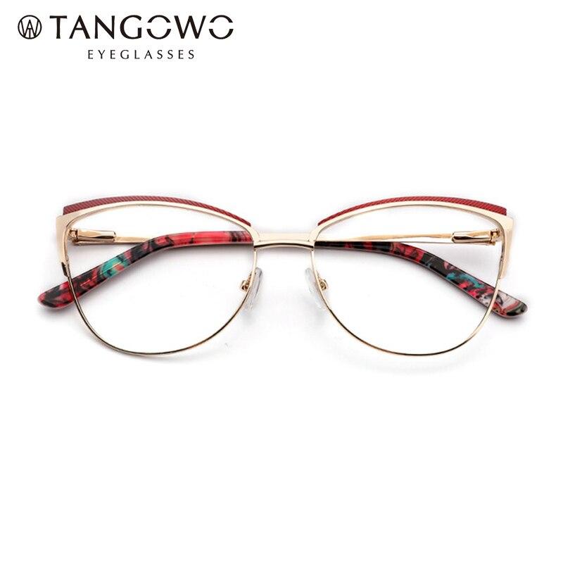 TANGOWO femmes métal mode tendance lunettes de chat plein cadre dames Vintage lunettes myopes Prescription lunettes optiques