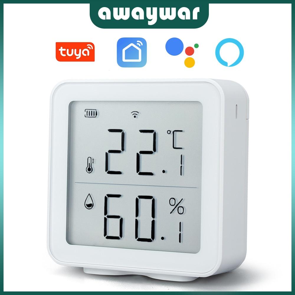 Awaywar Tuya WIFI Temperature and Humidity Sensor Indoor Hygrometer Thermometer Detector Support Ale