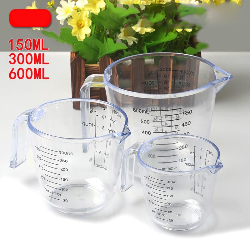 150/300/600ml High Quality Plastic Measuring Cup Clear Scale Show Transparent Mug  Pour Spout 3sizes Measuring Device