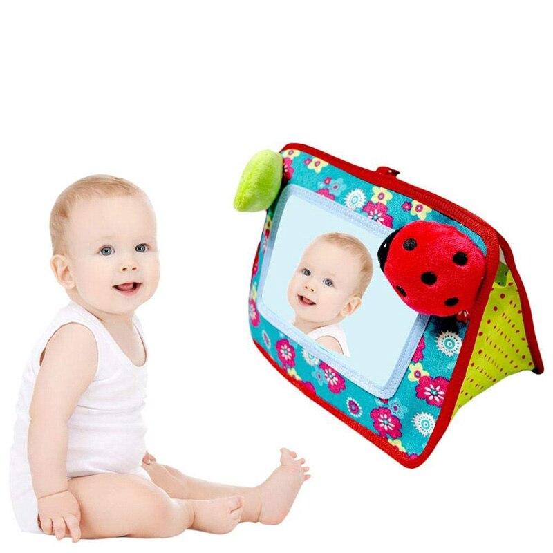 Brinquedo de pelúcia para bebês, brinquedo de pelúcia espelhado para assento de carro, para recém-nascidos, 0-12 meses