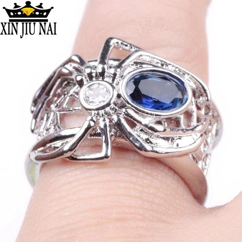 Nuevo anillo de araña creativo estilo Punk europeo mujer telaraña Spiderman anillo con incrustaciones de Zirconia azul boda banda joyería Anillos