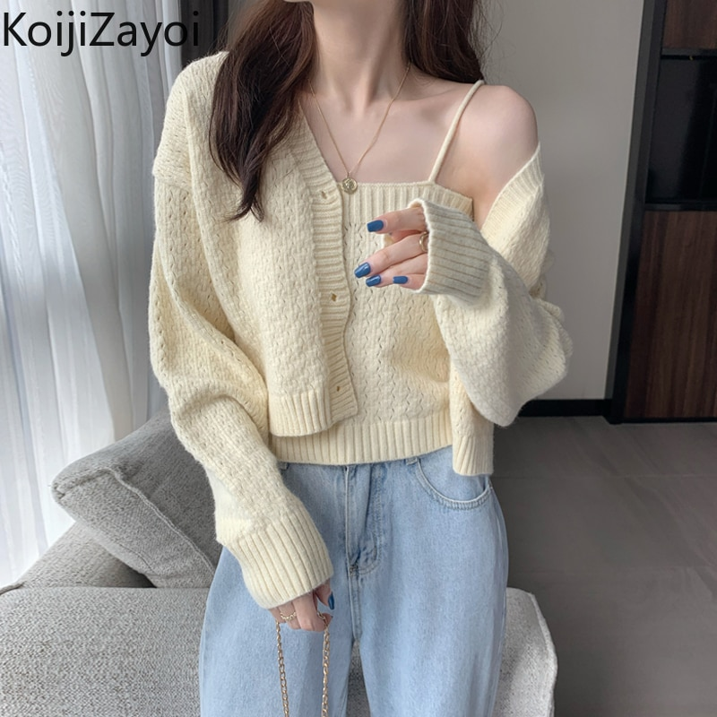 Koijizayoi Women 2 Pcs Knitted Suits Autumn Winter Long Sleeve Cropped Sweater Cardigan and Maching