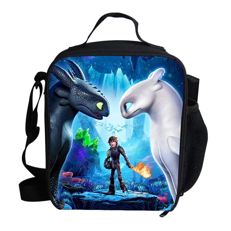 Como treinar seu dragão 3 saco de almoço refrigerador dos desenhos animados meninas sacos de piquenique comida térmica portátil para a escola crianças meninos lancheira tote