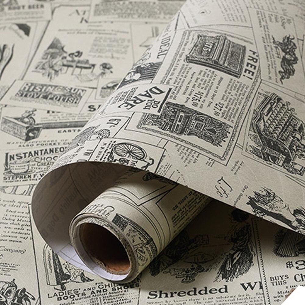 Papel tapiz retro de periódico, papel tapiz Vintage de Pvc, autoadhesivo para la renovación del hogar, adhesivo para pared, mesa de armario