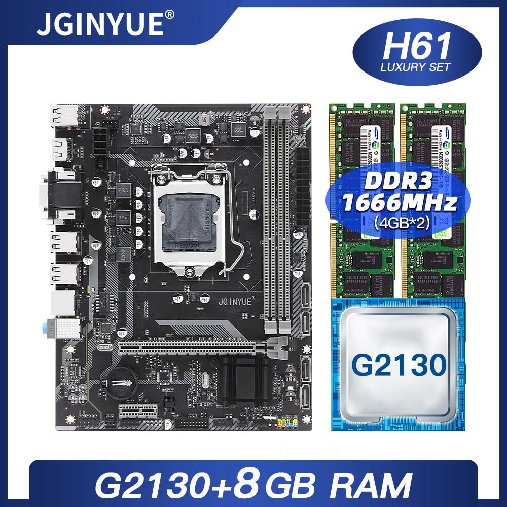 JGINYUE H61 سطح المكتب اللوحة LGA1155 كومبو مع إنتل G2130 المعالج 8GB 2*4G DDR3 ECC RAM 1600MHZ ميكو ATX لوحة H61G532