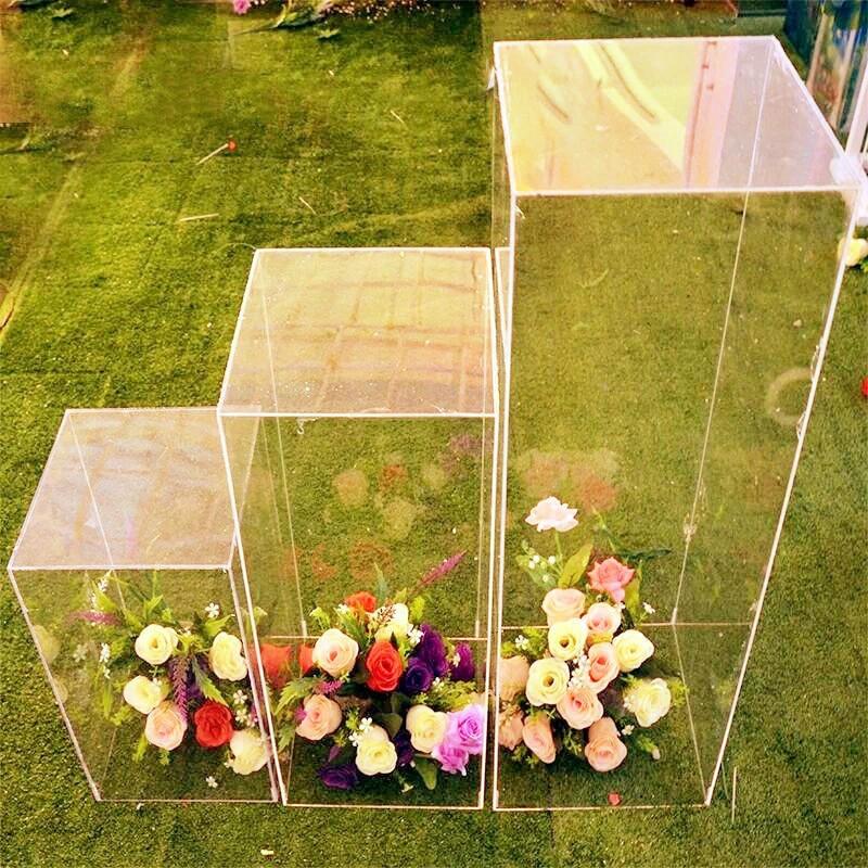 حامل زهور كريستالي أكريليك ، مربع الشكل ، ممر الزفاف ، زخرفة الزفاف ، طريق