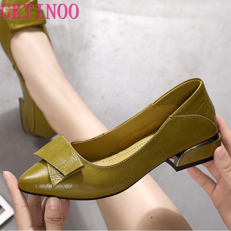 GKTINOO ماركة أحذية كعب سميك السيدات مضخات جلد طبيعي أشار تو ملون ساحة الكعوب أحذية الحفلات اليدوية النساء
