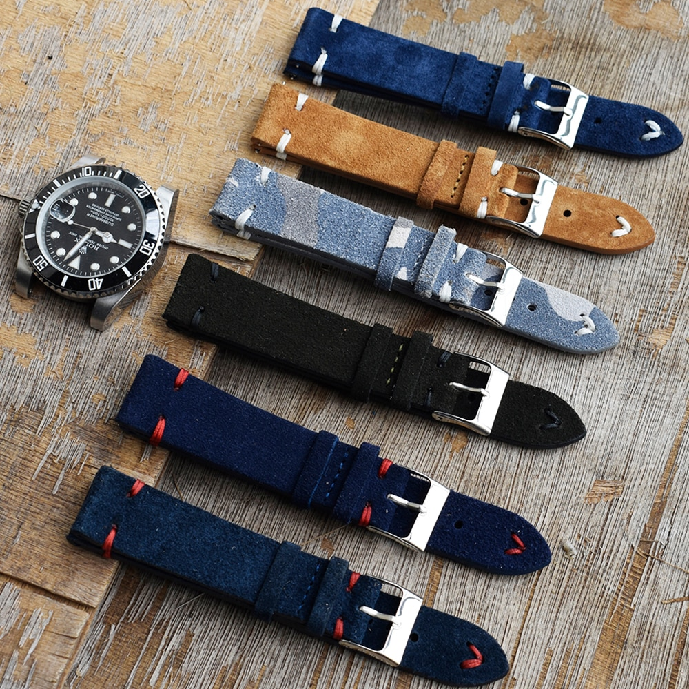 Men Watch Band Genuine Suede Leather Vintage Strap 18mm 20mm 22mm 24mm High Quality Royal Blue Watchband Strap Watch Accessories calfskin leather watchband quick release watch band wrist strap 18mm 20mm 22mm 24mm smart watch strap watches accessories
