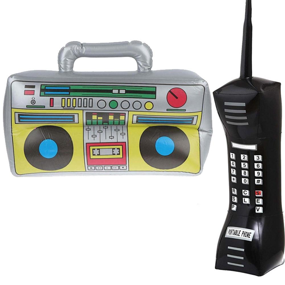 Надувные радио Бумбокс мобильный телефон крупного плана Портативный вечерние реквизит для 80s 90 вечерние украшения