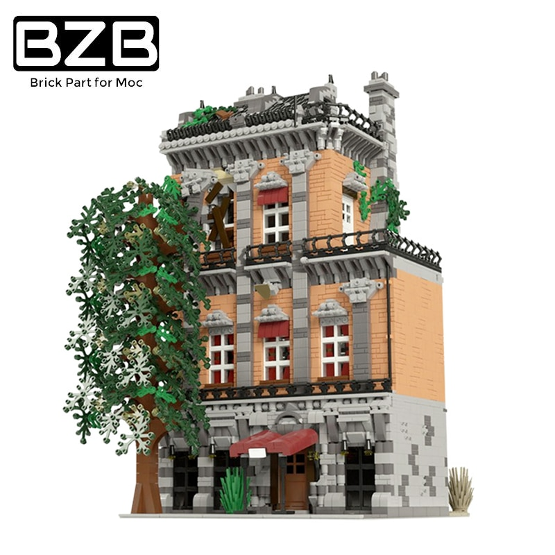 BZB MOC Classic Hotel Building Compatible With 46504 Old Trailer Hotel Building Blocks  Bricks Suitable For Kids DIY Gifts Toys