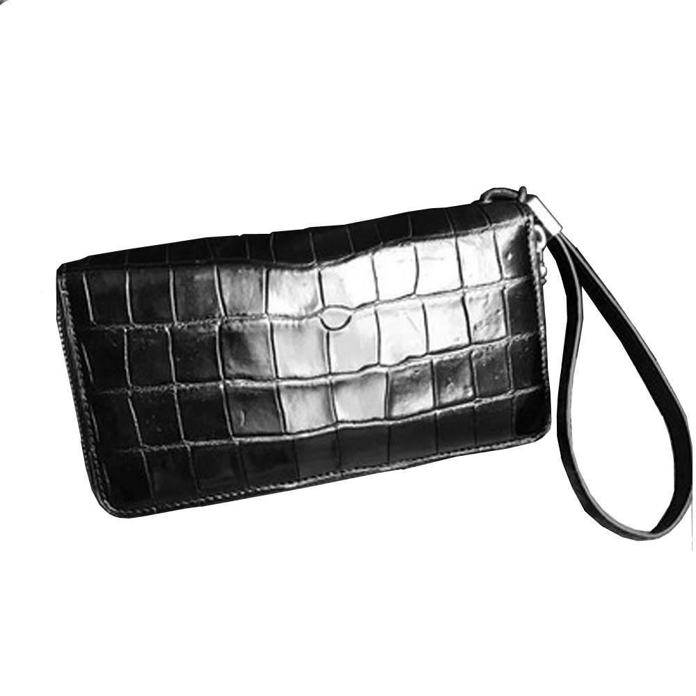 hongsen new crocodile belly  Double zipper men handbags  More screens  belly  men clutch bag  male bag large capacity