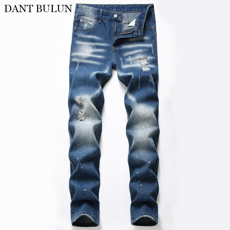 Новые мужские джинсы с рваными дырками темно-синие джинсы Homme прямые облегающие джинсовые длинные брюки мужские повседневные мягкие брюки ...