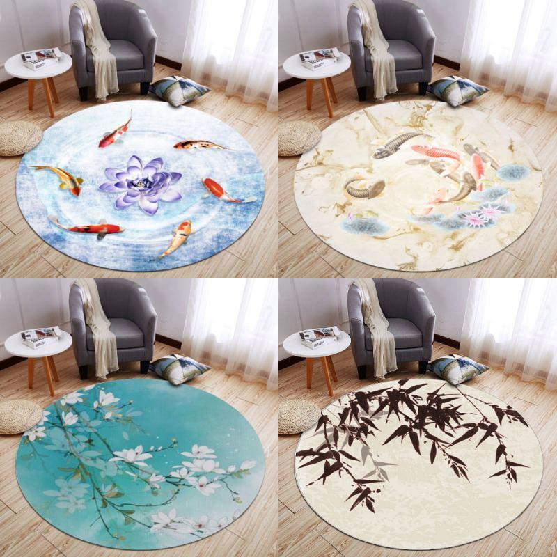 سجادة مستديرة على الطراز الصيني مع نبات وزهور لغرفة المعيشة وغرفة النوم ووسادة السرير والدراسة والكمبيوتر