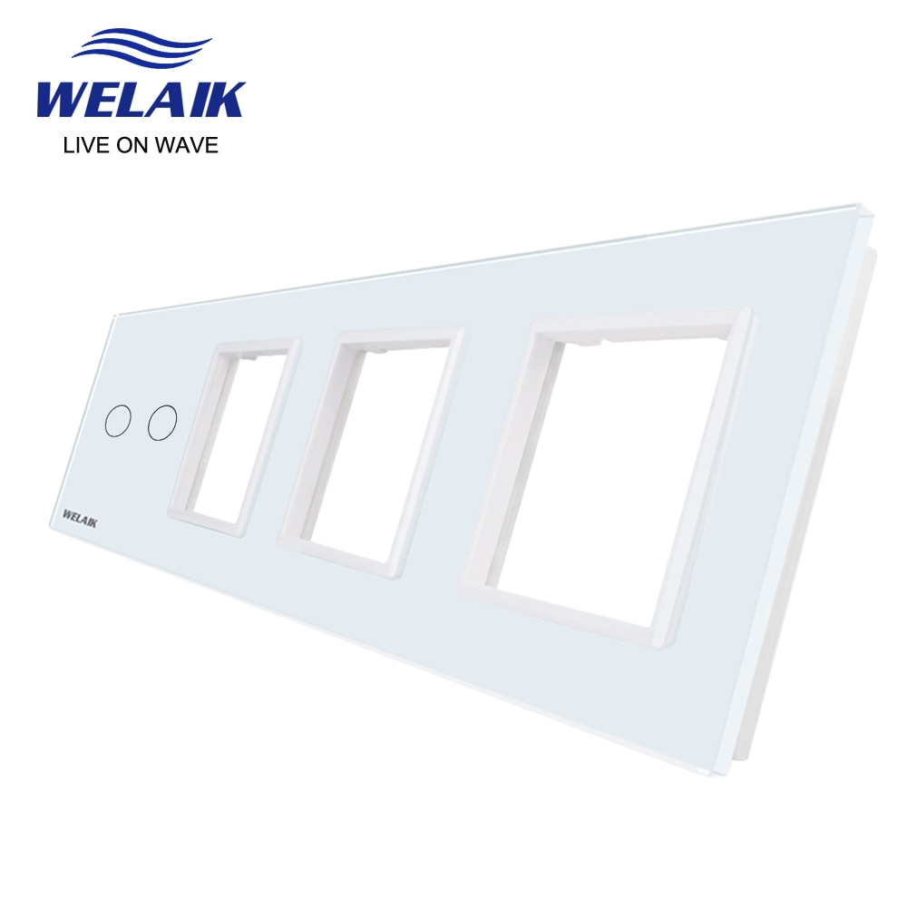 WELAIK EU 4 إطار مفتاح حائط يعمل باللمس مأخذ المخرج حفرة مربعة كريستال لوح زجاج مُقسّى فقط لتقوم بها بنفسك أجزاء 293*80 مللي متر A492888W1