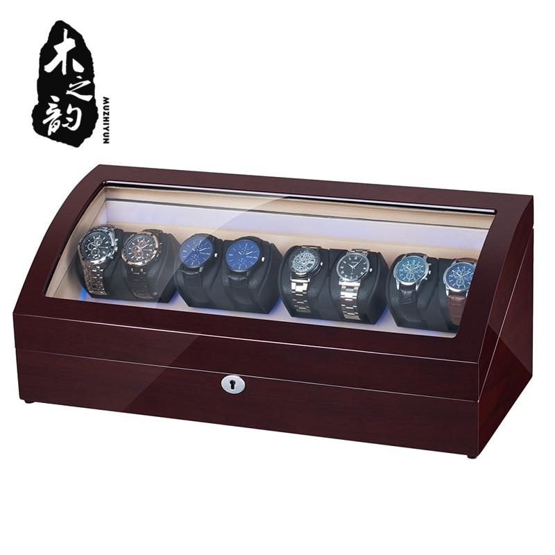 8+8 Automatic Watch Winder Box PU Leather Watch Winding Winder Storage Watch Box Collection Display Japanese Motor LED Light