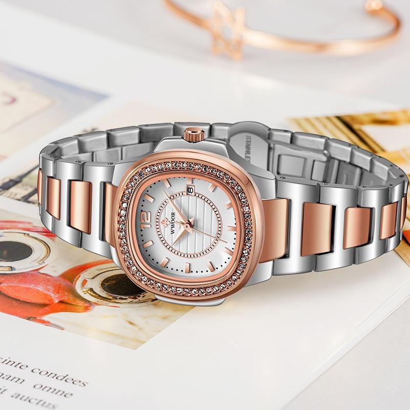 WWOOR Rose Gold Watch For Women Top Luxury Diamond Women Watches Ladies Rectangle Quartz Date Watch Gift Clock Reloj Mujer 2021 enlarge
