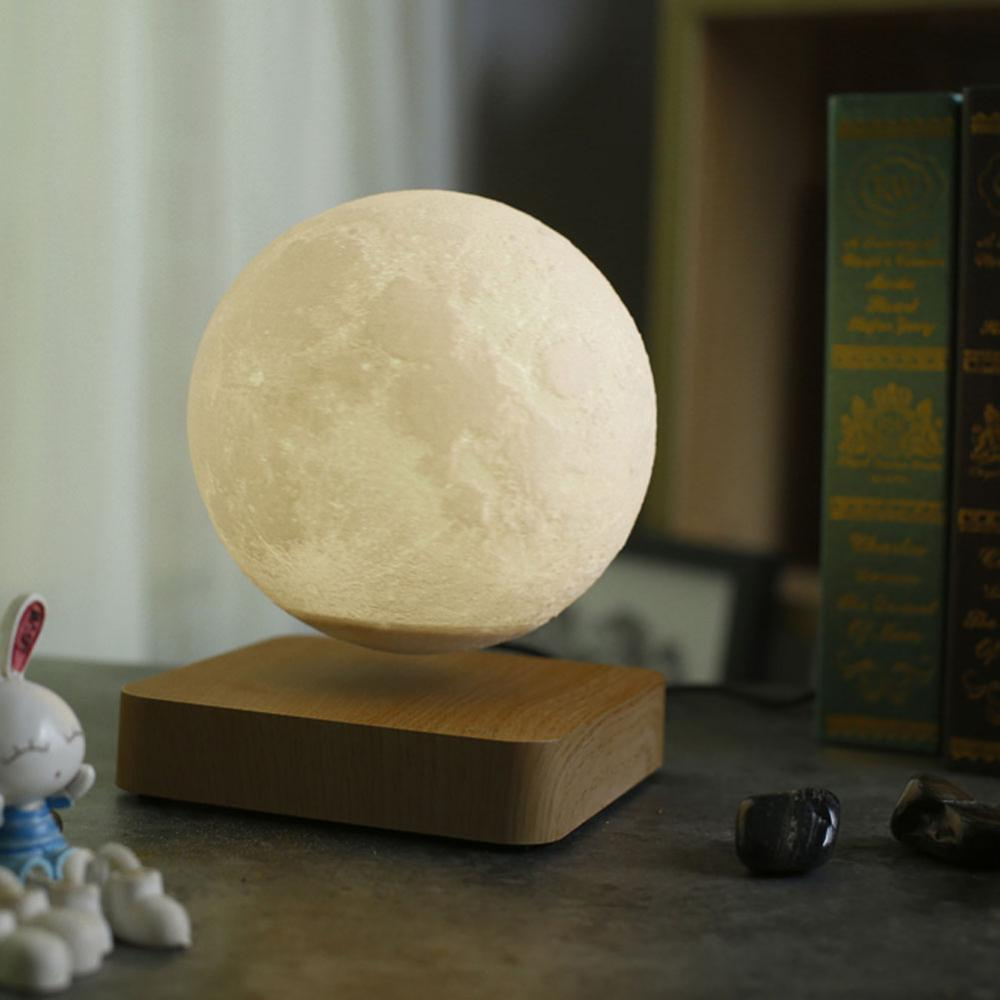 Home Decoration Magnetic Suspension Moon Night Light Creative 3D Floating Freely with Luxury Wooden Base LED Moon Light 3 Colors enlarge