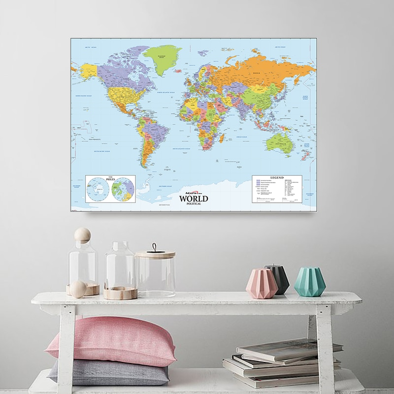 A2 Size The World Political Map Vinyl Spray Painting Canvas Waterproof Unframed Wall Map for Home Decor Office School Supplies