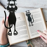 1-2pcs Cartoon Black Cat Bookmark Creative Hollowed PVC Book Clip Reading Tool Book Page Mark Students Gifts School Supplies