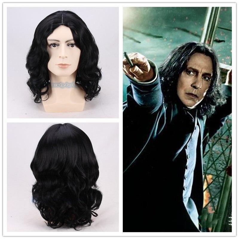 35cm nuevo Severus Snape peluca negra Cosplay profesor Snape peluca rizada de Halloween juego de roles disfraces de pelo