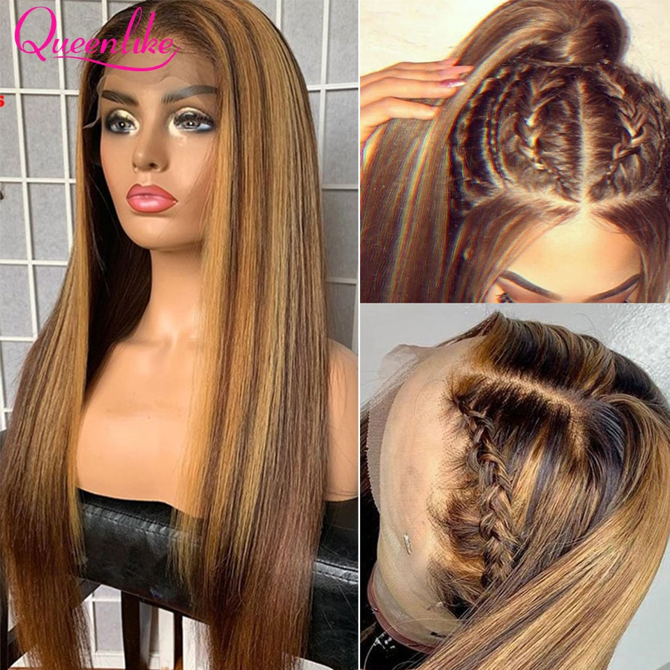 Highlight Wig Human Hair Colored Straight Lace Front Wig Pre Plucked 13x6 P4/27 Ombre Lace Front Human Hair Wigs For Black Women