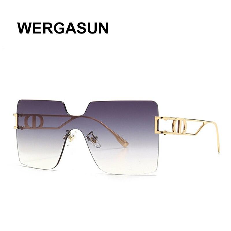 Wergasun 2020 moda praça óculos de sol das mulheres marca designer de grandes dimensões gradiente uma peça óculos de sol novo estilo tons uv400