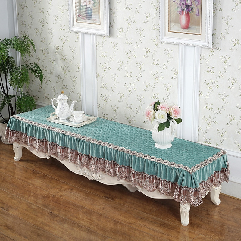Lace Coffee table cover thickened plush TV cabinet dust cover cloth fabric European solid color non-slip rectangular lace enlarge