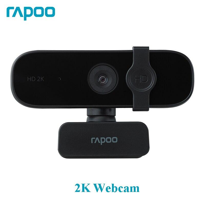 Rapoo-كاميرا ويب C280 أصلية ، 2K HD ، مع ميكروفون ، كاميرا دوارة للبث المباشر ، مؤتمر ، مكالمات فيديو مع غطاء