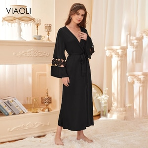 Sexy Lace Black Deep V Robes Women Evening Dress Ladies Home Wear Lounge Casual Jacket Women Sleepwear Women's Dressing Gown
