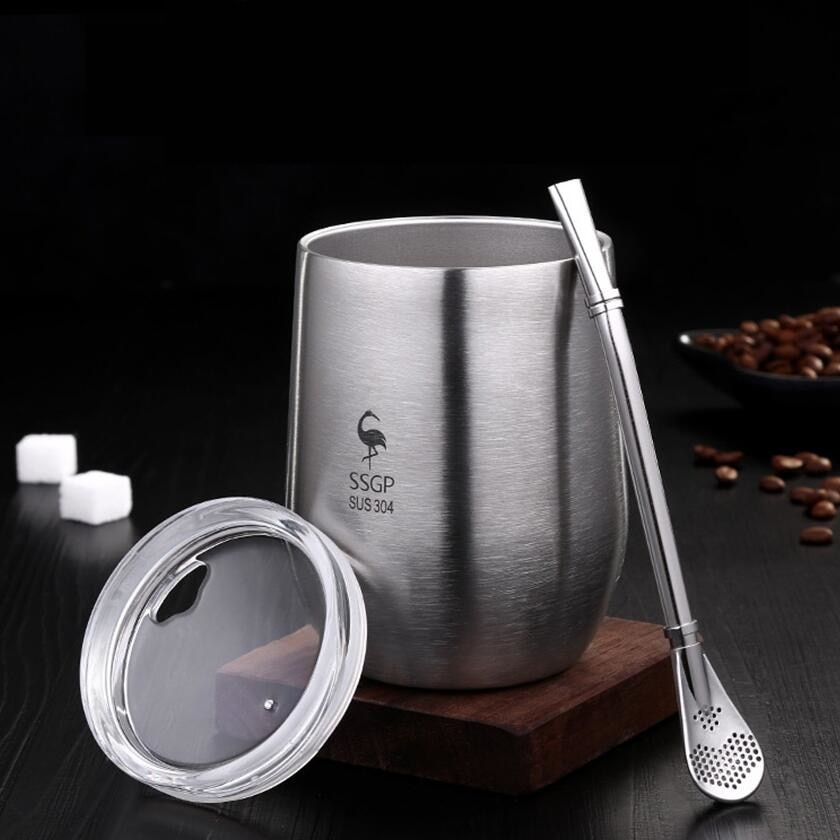 Double Wall 304 Stainless Steel Cup Tea Mug With Lid Heat Resistant Portable Beer Cup With Spoon Straw 377ml