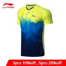Li-Ning Männer Badminton T-Shirts ZU TROCKENEN Atmungs Wettbewerb Top Komfort Fitness Futter Sport Tees T-Shirt AAYN269 MTS2836