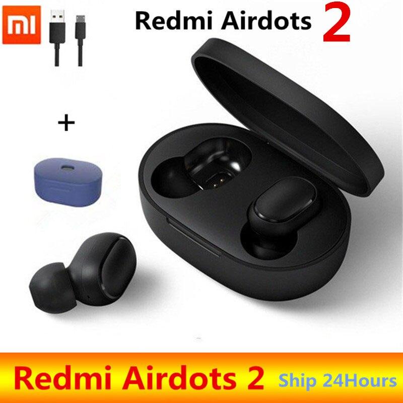 سماعة أذن أصلية من شاومي ريدمي إيردوتس 2 TWS لاسلكية حقيقية بلوتوث 5.0 ستيريو باس مع ميكروفون سماعات أذن بدون استخدام الأيدي تحكم AI