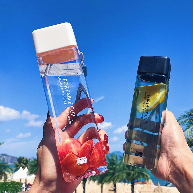 500ml Square plastic water bottles Tea Milk fruit bottle Portable Cup for Leak-proof Outdoor Sport Travel Camping Bottle