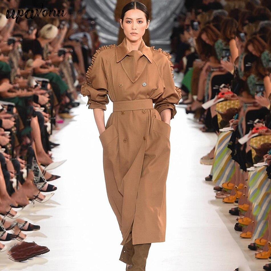 2019 otoño e invierno abrigo mujer sección larga nuevo temperamento moda mujer chaqueta Casual doble pecho cinturón Delgado abrigo