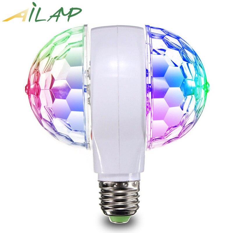 Luces de Navidad led de control de música con dos cabezales giratorias coloridas E27, proyector dj disco KTV led de decoración, regalo para niños
