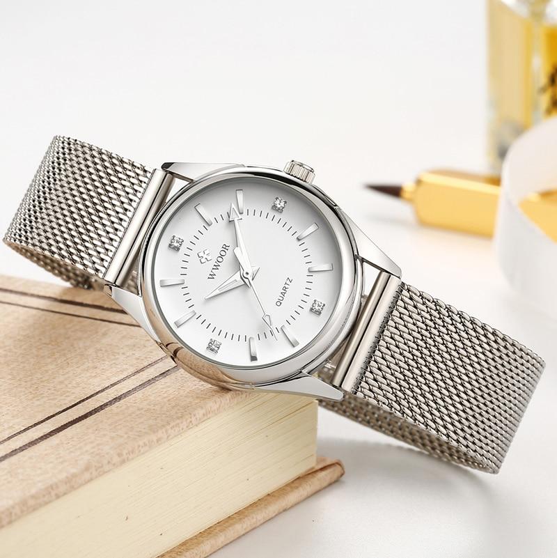 2021 WWOOR Women Watches Top Brand Luxury Casual Dress Diamond Quartz Watches Mesh Belt Waterproof Ladies Wristwatch Reloj Mujer enlarge