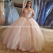 Eeqasn gonflé doux 16 épaules nues robes de bal seize perles cristal rose clair Tulle Quinceanera robe 2020 robe de bal