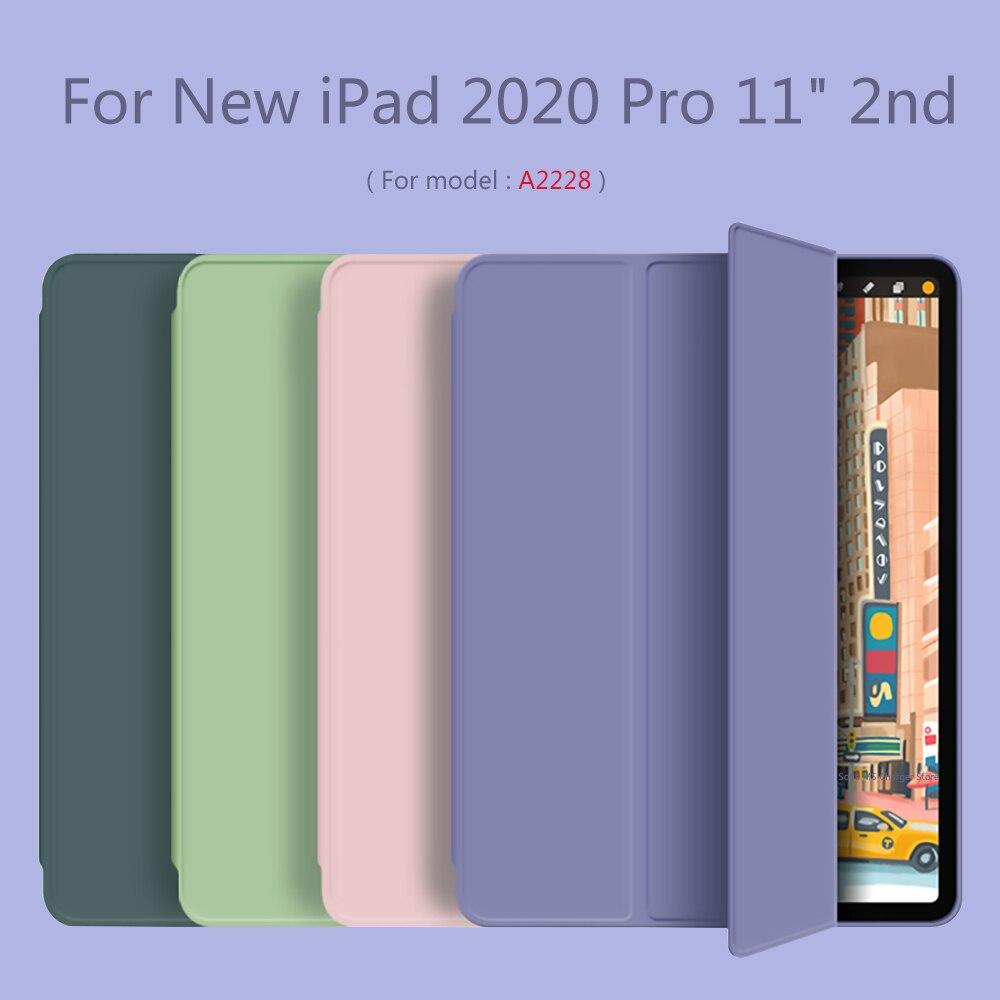 "Para novo ipad pro 11 polegada 2020 caso inteligente automático acordar tri-fold macio suporte capa para ipad 2020 pro 11 ""2nd modelo a2228 a2231"