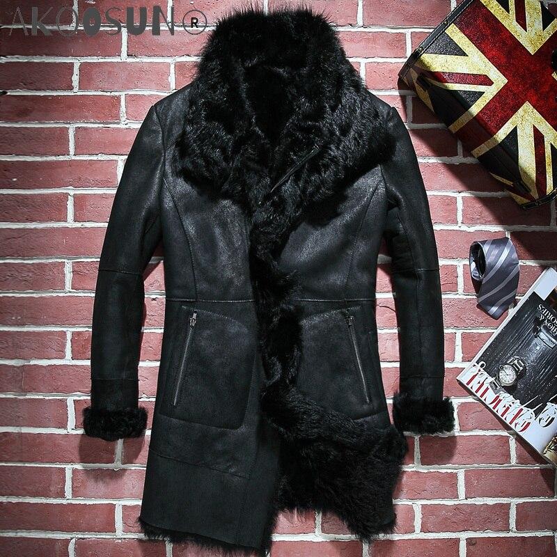 AKOOSUN معطف فرو رجالي حقيقي للشتاء جاكيت من الجلد الطبيعي للرجال معطف من جلد الغنم معطف عتيق من الفرو الطبيعي PY15D725 KJ3806
