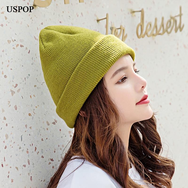 Зимние шапки USPOP, женские шапки, однотонные вязаные шапки, женские облегающие шапки, мужские холодные шапки