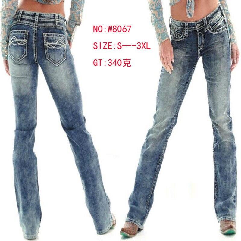 Цветные джинсы стрейч толстые линии вышивка горячая распродажа джинсы со средней талией Прямые брюки женские джинсы