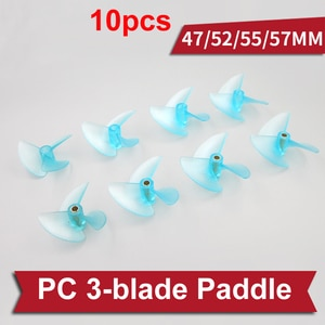 10pcs DIY Model Ship RC Boat Modified Dia 47/52/55/57mm 3-blade Propeller PC Nylon Paddle Shaft Hole 4.0mm/4.8mm w/Prop Sleeve