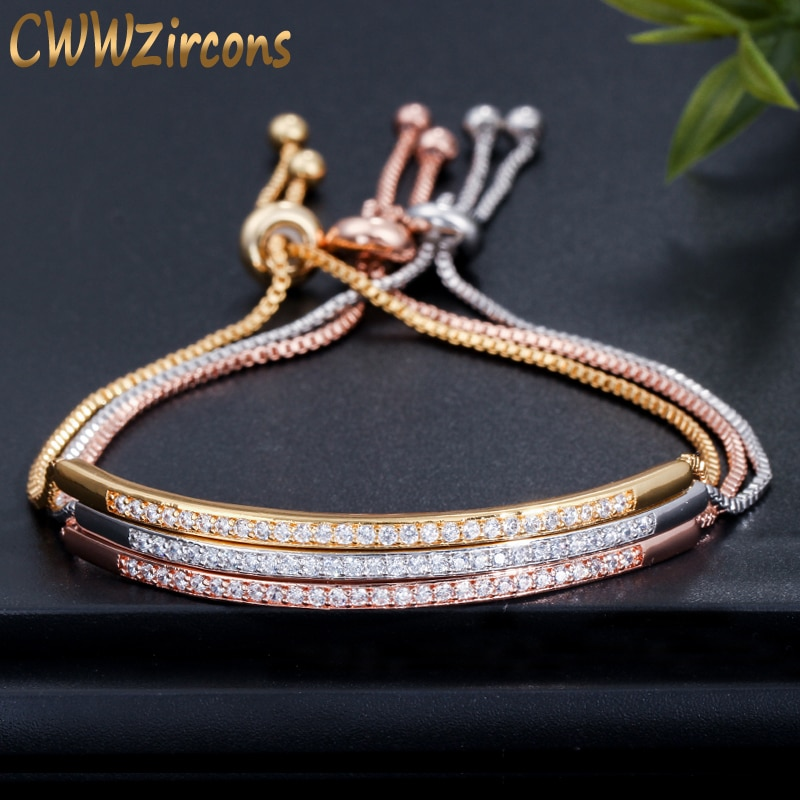 Brazalete ajustable CWWZircons para mujeres, barra deslizante atractiva brillante CZ Color oro rosa, joyería Pulseira Feminia CB089