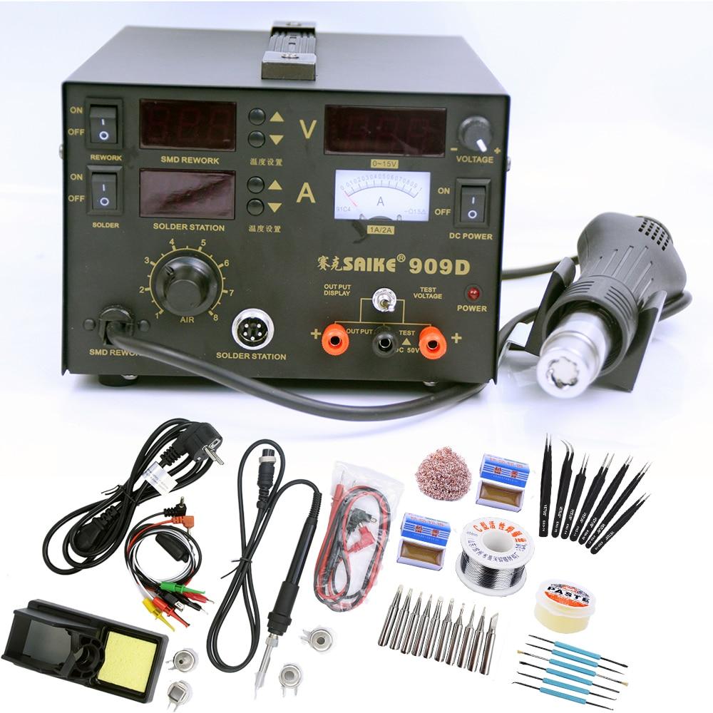 Repair Rework Station SAIKE 909D Soldering Supply 3 In 1 Heat Gun Desoldering