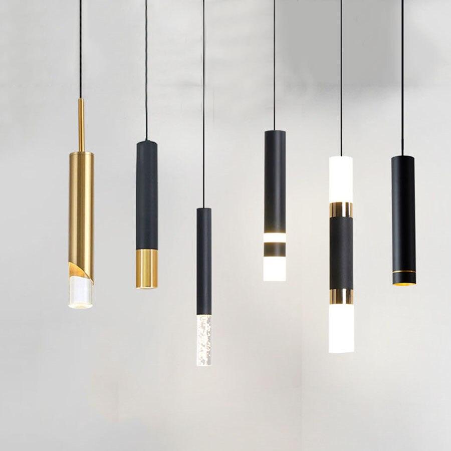 مصباح معلق من الحديد LED على شكل أنبوب طويل حديث ، تصميم نورديك ، مثالي لغرفة النوم أو غرفة المعيشة أو المطبخ.