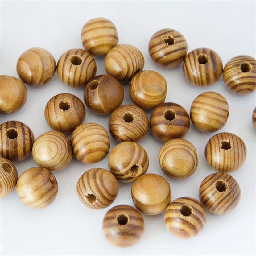 8 10 16 20mm DIY cuentas de madera Natural suelto redondo de madera de pino de perlas pulsera collar de la joyería fábrica